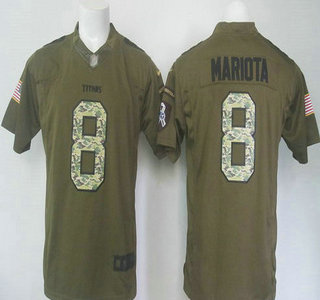 4b84d311d ... Mens Tennessee Titans 8 Marcus Mariota Green Salute to Service 2015 NFL  Nike Limited Jersey Nike Titans 8 Marcus Mariota White Mens Stitched ...