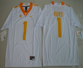 5c7ac7135 Men s Tennessee Volunteers  1 Jalen Hurd White Stitched College Football  Nike NCAA Jersey