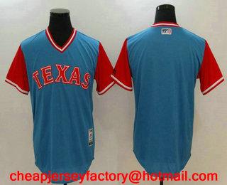 bcd050e82 Men s Texas Rangers Blank Light Blue 2017 Little League World Series Players  Weekend Stitched Nickname Jersey