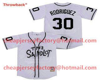 Men s The Sandlot  30 Benny The Jet Rodriguez White Movie Stiched Jersey 19ac4323d