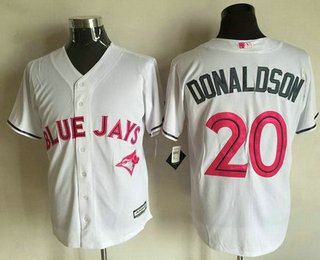 1d199e4dde3 Men s Toronto Blue Jays  20 Josh Donaldson White With Pink 2016 Mother s  Day Baseball Cool Base Jersey
