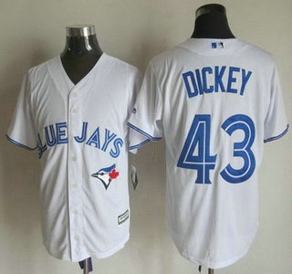 6aff44c32 ... Mens Toronto Blue Jays 43 R.A. Dickey Home White 2015 MLB Cool Base  Jersey ...