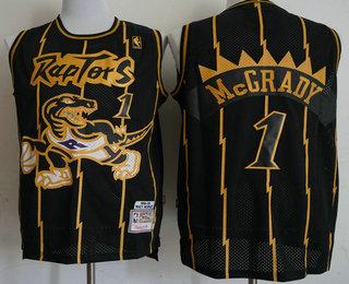 low priced 519a4 10469 Men's Toronto Raptors #1 Tracy McGrady 1998-99 Black With ...