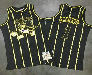 f6e1edc5b Men s Toronto Raptors  1 Tracy McGrady 1998-99 Black With Gold Hardwood  Classics Soul AU Swingman Throwback Jersey