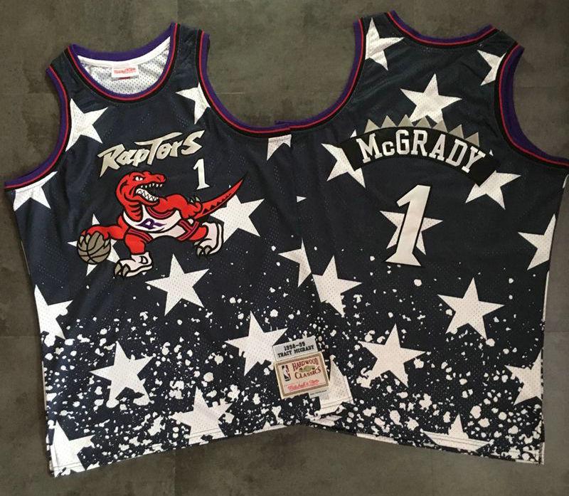 a69d6783090 Men s Toronto Raptors  1 Tracy McGrady Black Independence Day Nike AU  Hardwood Classics Soul Swingman Throwback Jersey