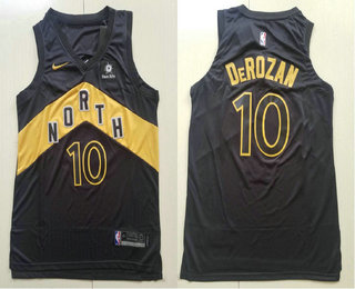 7bba01bdd Men s Toronto Raptors  10 DeMar DeRozan Black Nike 2017-2018 NBA Swingman  City Edition Jersey