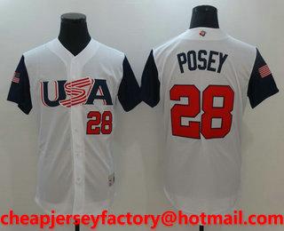 ea1e393d4 Men s USA Baseball  28 Buster Posey White 2017 World Baseball Classic  Stitched Replica Jersey