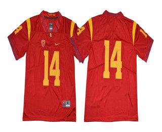 buy online cb27d 0b34f Men's USC Trojans #14 Sam Darnold No Name Red Limited ...