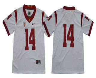 the best attitude a0ccd 6e443 Men's USC Trojans #14 Sam Darnold No Name White Limited ...