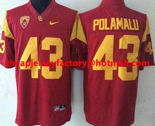 save off df287 2b4b8 Men's USC Trojans #43 Troy Polamalu Red Limited College ...