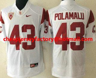 sports shoes 4672b 87fc4 Men's USC Trojans #43 Troy Polamalu White Limited College ...