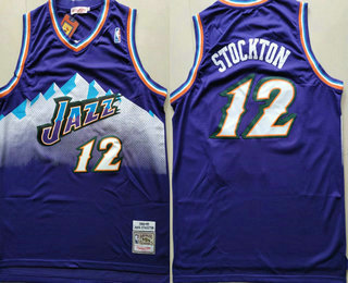 online store 0359c 709de Men's Utah Jazz #12 John Stockton Mountain Purple Hardwood ...