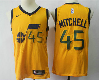 31ab664a76b Men s Utah Jazz  45 Donovan Mitchell Yellow 2017-2018 Nike Swingman  Stitched NBA Jersey