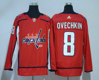 c85bf5653 Men s Washington Capitals  8 Alex Ovechkin Red With Handwork Sequin Fashion  Team Logo Home 2017