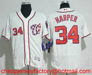 promo code fd500 62e26 Men's Washington Nationals #34 Bryce Harper White Home ...