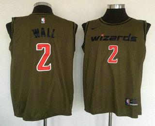 597059d1c05 Men s Washington Wizards  2 John Wall Olive Stitched Nike Swingman Jersey