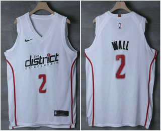 858887d805b Men s Washington Wizards  2 John Wall White 2017-18 Nike City Edition  Authentic Jersey