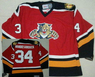 official photos 24f9d 7c646 Men's Florida Panthers Vintage Throwback Jerseys Red #34 ...