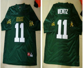 best service 53510 40b16 Mens NDSU Bison #11 Carson Wentz Green Football Jersey ...