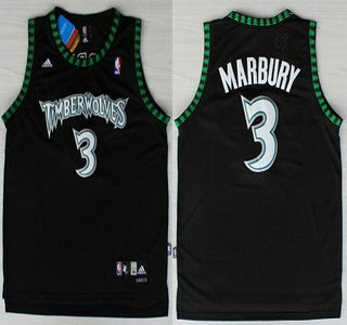 minnesota timberwolves 3 stephon marbury black swingman jersey