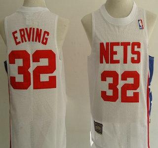 quality design b1cb0 02c03 New Jersey Nets #32 Julius Erving White Hardwood Classics ...