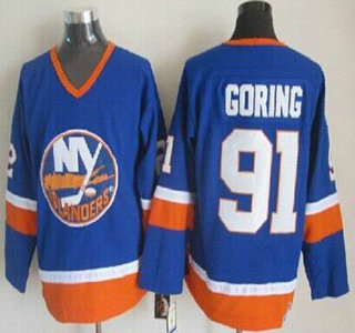 0893e482 New York Islanders #91 Butch Goring Light Blue Throwback CCM Jersey