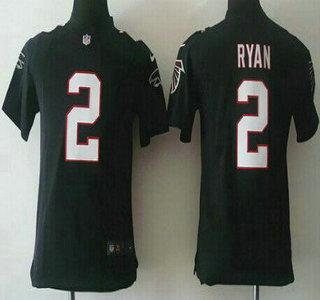 414b81c72 ... Nike Atlanta Falcons 2 Matt Ryan Black Game Kids Jersey ...