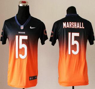 nike chicago bears 15 brandon marshall drift fashion ii blue with orange elite kids jersey