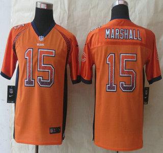 nike chicago bears 15 brandon marshall drift fashion orange elite kids jersey