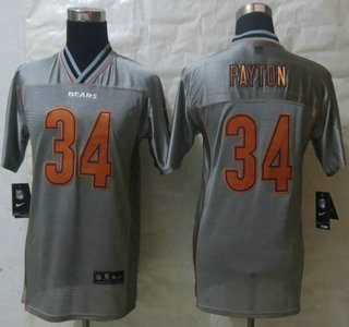 nike chicago bears 34 walter payton 2013 gray vapor elite kids jersey