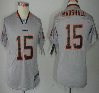 nike chicago bears 15 brandon marshall lights out grey elite kids jerseys