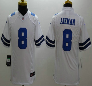 official photos daf29 536bc Nike Dallas Cowboys #8 Troy Aikman White Limited Kids Jersey