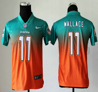 nike miami dolphins 11 mike wallace drift fashion ii green with orange elite kids jersey