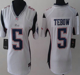 buy popular 98209 685bc Nike New England Patriots 5 Tim Tebow Blue Game Womens Jersey