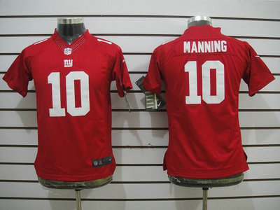 nike new york giants 10 eli manning red limited kids jersey