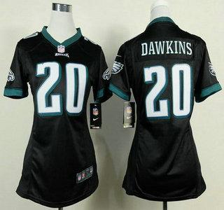5ffd2c9596a Nike Philadelphia Eagles #20 Brian Dawkins Black Game Womens Jersey