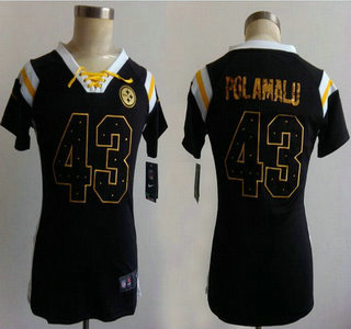 786102f26f8 Nike Pittsburgh Steelers  43 Troy Polamalu Drilling Sequins Black Womens  Jersey