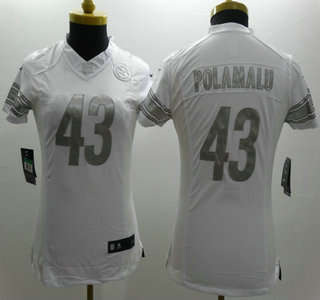 ae587be5c Nike Pittsburgh Steelers  43 Troy Polamalu White Platinum Limited Womens  Jersey