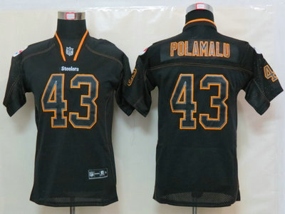 a61ce1da4 Nike Pittsburgh Steelers 43 Troy Polamalu Lights Out Black Elite Kids  Jerseys