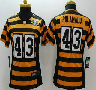 e8f376d55fc Nike Pittsburgh Steelers 43 Troy Polamalu Yellow With Black Throwback 80TH  Limited Womens Jersey