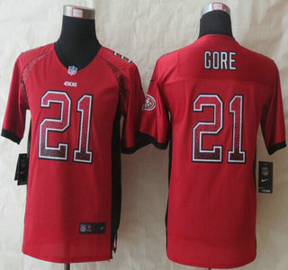 1ddace26a6b Nike San Francisco 49ers  21 Frank Gore Drift Fashion Red Elite Kids Jersey