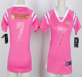 newest collection 4068a 05ac2 Nike San Francisco 49ers #7 Colin Kaepernick Pink Handwork ...