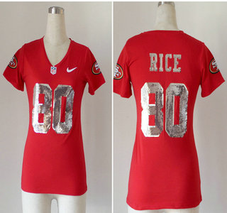 6db1fdb10e5 Nike San Francisco 49ers  80 Jerry Rice 2013 Red Handwork Sequin lettering  Fashion Womens Jersey