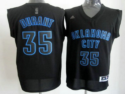 92c5229f7cc ... Authentic Notorious Fashion NBA Jersey Oklahoma City Thunder 35 Kevin  Durant All Black With Blue Fashion Jersey ...