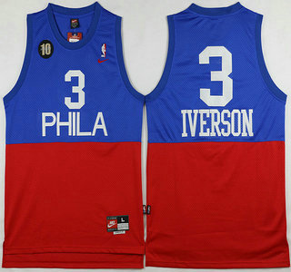 online store 781e5 96b18 Men's Philadelphia 76ers #3 Allen Iverson Blue With Red 10th ...