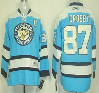 newest c39a3 3cd6e Pittsburgh Penguins #87 Sidney Crosby Light Blue Kids Jersey