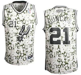 ... San Antonio Spurs 21 Tim Duncan Revolution 30 Swingman Grey Camo Jersey  ... 56102e579
