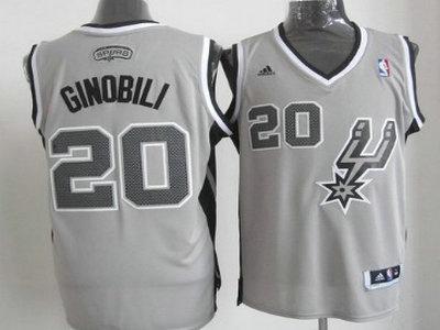 ... San Antonio Spurs 20 Manu Ginobili Revolution 30 Swingman 2013 Gray  Jersey ... a0371773a