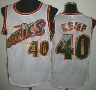 new products 69f73 3b397 Seattle SuperSonics 40 Shawn Kemp White Throwback Revolution ...