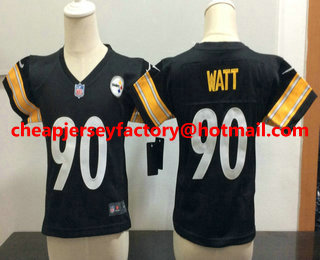 new style af5a9 1c631 Toddler Pittsburgh Steelers #90 T. J. Watt Black Team Color ...